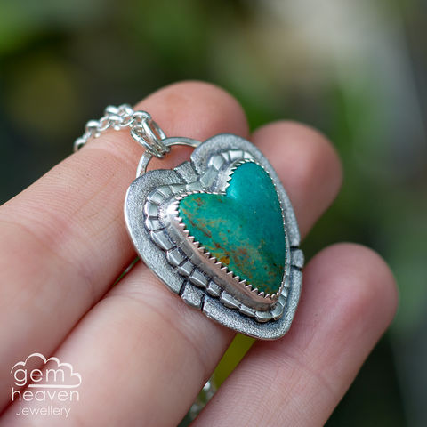 All,of,Me,Turquoise, Kingman Turquoise, heart pendant, pendant,  blue necklace,  gemstone, boho style, medieval, rustic silver, sterling silver, uk made, cornish jewellery, bohemian style, cornish jeweller, jo tubb, art, desi