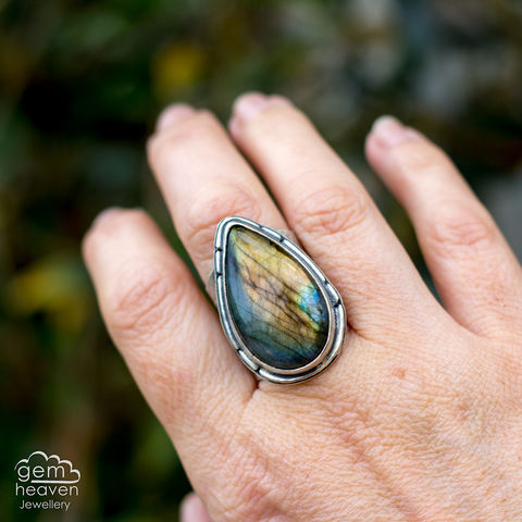A,Sunset,Voyage,Cuff ring, adjustable ring,Labradorite,  sterling silver, statement ring,  boho style, bohemian ring, wide band ring, cornish jewellery, cornish jeweller, jo tubb, hand made, uk made, hallmarked silver, rusti