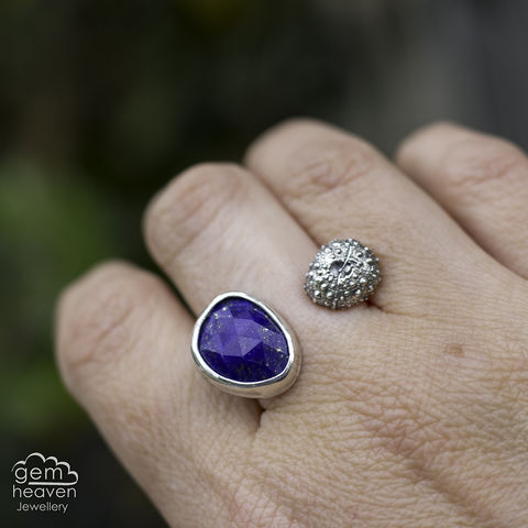 A,space,between,adjustable,ring,Jewellery, Ring, blue ring, lapis Lazuli ring, stone ring, adjustable ring, gemstone ring, rustic ring band, sterling silver ring, silver gemstone ring, uk made, bohemian style, rustic ring, purple gemstone, metalwork ring, gemheaven jewellery, wish ring