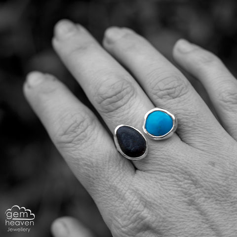 A,space,between,adjustable,ring,Jewellery, Ring, blue ring, Turquoise ring, pebble ring, stone ring, adjustable ring, gemstone ring, rustic ring band, sterling silver ring, silver gemstone ring, uk made, bohemian style, rustic ring, purple gemstone, metalwork ring, gemheaven jewellery,