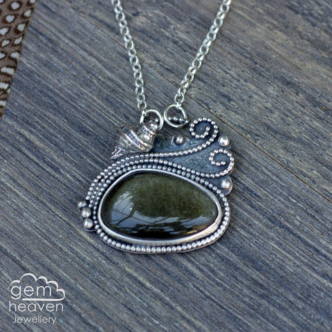 Storm,Raging, Golden Sheen Obsidian, shell, earthy, goddess, Obsidena, pendant,   necklace, gemstone, boho style, medieval, rustic silver, sterling silver, uk made, cornish jewellery, bohemian style, cornish jeweller, jo tubb, art, design, witch jewellery