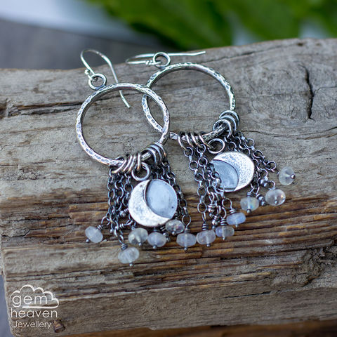 Comet,earrings,with,moonstone,dangle earrings, moonstone earrings , dangle earrings, sterling silver, rustic earrings, silver dangle earrings, hammered hoops, Labradorite earrings, cornish jewellery, cornish jeweller, uk made, boho style, bohemian chic