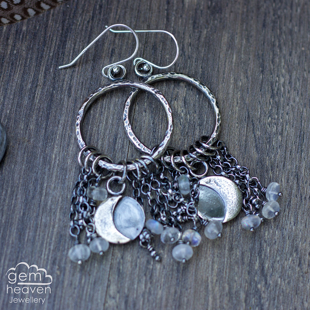 Comet earrings with moonstone - product images  of