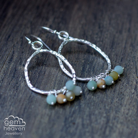 Pebble,earrings,with,Amazonite,pebble earrings, freeform earrings , hoop earrings, sterling silver, amazonite earrings, silver dangle earrings, hammered hoops, Labradorite earrings, cornish jewellery, cornish jeweller, uk made, boho style, bohemian chic
