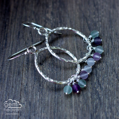 Pebble,earrings,with,Flourite,pebble earrings, freeform earrings , hoop earrings, sterling silver, Flourite earrings, silver dangle earrings, hammered hoops, Labradorite earrings, cornish jewellery, cornish jeweller, uk made, boho style, bohemian chic