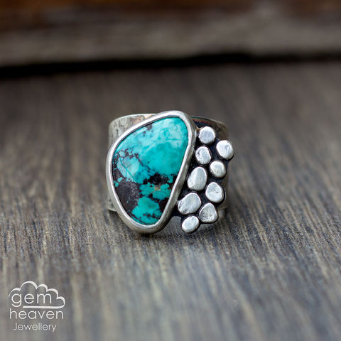 Rockpool,with,Turquoise,Cuff ring, adjustable ring, Turquoise,  sterling silver, statement ring,  boho style, bohemian ring, wide band ring, cornish jewellery, cornish jeweller, jo tubb, hand made, uk made, hallmarked silver, rusti