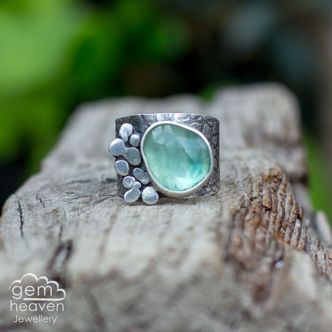 Rockpool,with,Flourite,Cuff ring, adjustable ring, Flourite,  sterling silver, statement ring,  boho style, bohemian ring, wide band ring, cornish jewellery, cornish jeweller, jo tubb, hand made, uk made, hallmarked silver, rusti