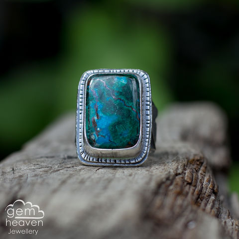 Unfurl,Statement,ring,Statement ring, Chrysocolla, tapered ring band, sunsets, warrior, rustic silver, chunky ring, black ring , gemstone ring, boho style, bohemian jewellery, gypsy style, witch jewellery, witchy, cornish jewellery, cornish jeweller