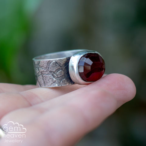 Custom,Made,Bestow,ring,-,Balance,Jewellery, Ring,red ring, garnet ring, stone ring, gemstone ring, rustic ring band, sterling silver ring, silver gemstone ring, uk made, bohemian style, rustic ring, purple gemstone, metalwork ring, gemheaven jewellery, wish ring
