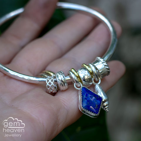 Spinner,of,Yarns,bangle,with,Lapis,Lazuli,charm bangle , charm bangle, Lapis Lazuli, blue gemstone, rustic silver, sterling silver, uk made, boho style, cornish jewellery, cornish jeweller, bohemian jewellery, gypsy style,
