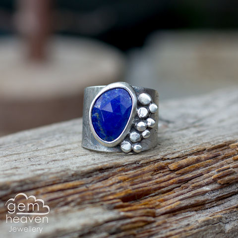 Rockpool,with,Lapis,lazuli,Cuff ring, adjustable ring, Lapis lazuli,  sterling silver, statement ring,  boho style, bohemian ring, wide band ring, cornish jewellery, cornish jeweller, jo tubb, hand made, uk made, hallmarked silver, rusti