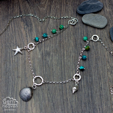The,Beachcomber,Collection,beachcomber, wiccan , cast shell, cast silver, sterling silver, Turquoise, witch jewellery, cornish jewellery, boho style, bohemian jewellery, uk made, hand crafted jewellery, silversmith, gemstone jewellery