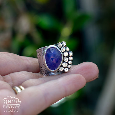 Rockpool,with,Tanzanite,Cuff ring, adjustable ring, Tanzanite,  sterling silver, statement ring,  boho style, bohemian ring, wide band ring, cornish jewellery, cornish jeweller, jo tubb, hand made, uk made, hallmarked silver, rusti