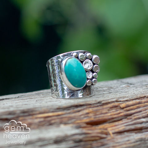 Rockpool,with,Turquoise,Cuff ring, adjustable ring, Royston Turquoise,  sterling silver, statement ring,  boho style, bohemian ring, wide band ring, cornish jewellery, cornish jeweller, jo tubb, hand made, uk made, hallmarked silver, rusti