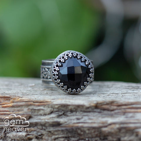 The,Josette,Ring,Jewellery, Ring, black stone ring, black onyx ring, onyx, stone ring, gemstone ring, rustic ring band, sterling silver ring, silver gemstone ring, uk made, bohemian style, rustic ring, purple gemstone, metalwork ring, gemheaven jewellery, wish ring