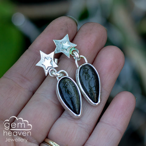 A,Drop,of,Sky,post,earrings,golden shee obsidian, stud  earrings, star earrings, post earrings, detachable dangle, dangle earrings, sterling silver, silver and moonstone, rainbow moonstone, blue flash, cornish jeweller, cornish jewellery, uk made, bohemian style, boho chic, moon jew