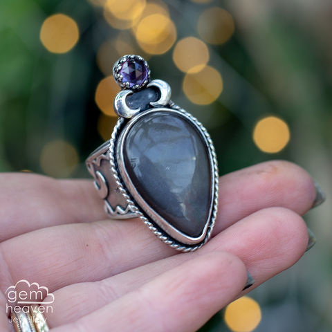 Dark,Moon,Royal,Statement,ring,Statement ring, Chocolate Moonstone, Amethyst, tapered ring band, sunsets, warrior, rustic silver, chunky ring, black ring , gemstone ring, boho style, bohemian jewellery, gypsy style, witch jewellery, witchy, cornish jewellery, cornish jeweller
