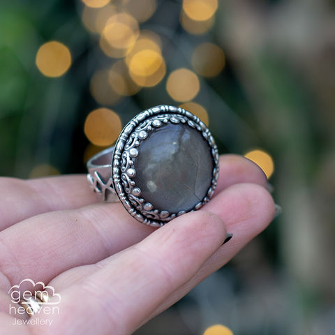 Dark,moon,Ring,Jewellery, Ring, Chocolate Moonstone ring, gemstone ring, moonstone, stone ring, rustic ring band, sterling silver ring, silver gemstone ring, uk made, bohemian style, rustic ring, purple gemstone, metalwork ring, gemheaven jewellery, wish