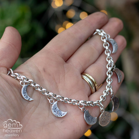 PREORDER,Echoes,~,Moonphase,charm bracelet, moon charm, moonphases,  sterling silver, uk made, uk silversmith, boho style, handcrafted, design, art, jewellery, cornish jewellery, bohemian jewellery