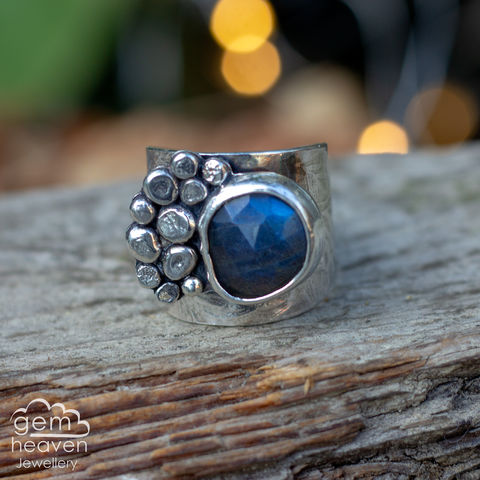 Rockpool,with,Labradorite,Cuff ring, adjustable ring, Labradorite,  sterling silver, statement ring,  boho style, bohemian ring, wide band ring, cornish jewellery, cornish jeweller, jo tubb, hand made, uk made, hallmarked silver, rusti