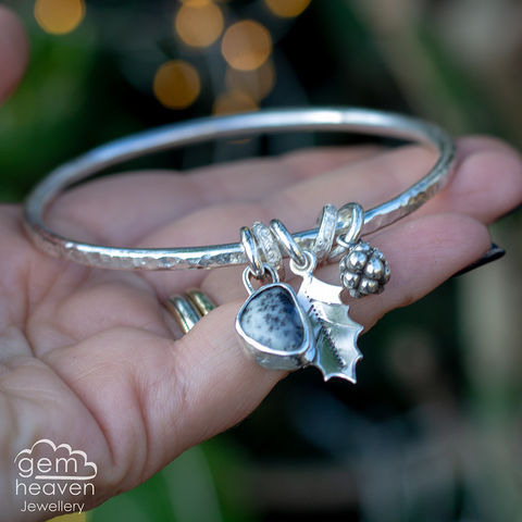 StoryTeller,bangle,~,A,winters,Tale,charm bangle , winter themed, leaf charm,  berry charm, , rustic silver, sterling silver, uk made, boho style, cornish jewellery, cornish jeweller, bohemian jewellery, gypsy style