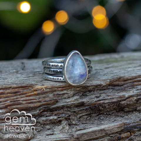Alchemy,Stacking,set,Rainbow Moonstone, stacking ring, stacker ring, , gemstone, stone ring, rustic silver, sterling silver, boho style, bohemian style, uk made, cornish jewellery, bohemian jewellery, cornish jeweller, design, hand crafted