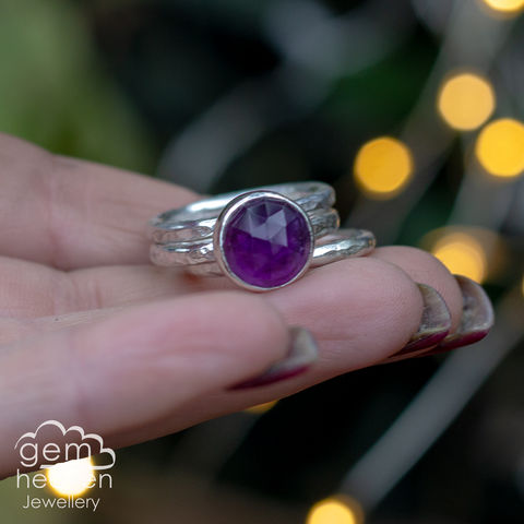 Alchemy,Stacking,set,with,Amethyst, stacking ring, stacker ring, , gemstone, stone ring, rustic silver, sterling silver, boho style, bohemian style, uk made, cornish jewellery, bohemian jewellery, cornish jeweller, design, hand crafted