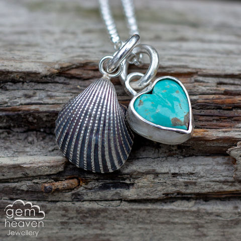 StoryTeller,series,-,Sea,Tales,Turquoise necklace, charm necklace,  shell, sterling silver, silver necklace, Sleeeping Beauty Turquoise, storyteller collection, star charm, cornish jewellery, cornish jeweller, bohemian necklace, boho style, ocean inspired, hand made, hand crafted