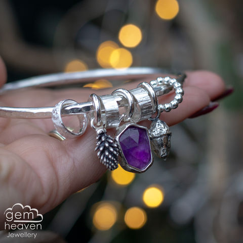 StoryTeller,bangle,~,Seasonal,Berries,charm bangle , winter themed, acorn charm,  Amethyst, berry charm, , rustic silver, sterling silver, uk made, boho style, cornish jewellery, cornish jeweller, bohemian jewellery, gypsy style