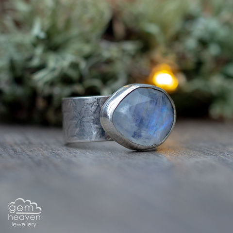 Bestow,ring,Jewellery, Ring, blue ring, moonstone ring, stone ring, gemstone ring, rustic ring band, sterling silver ring, silver gemstone ring, uk made, bohemian style, rustic ring, purple gemstone, metalwork ring, gemheaven jewellery, wish ring
