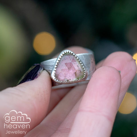 Bestow,ring,Jewellery, Ring, pink ring, tourmaline ring, stone ring, gemstone ring, rustic ring band, sterling silver ring, silver gemstone ring, uk made, bohemian style, rustic ring, purple gemstone, metalwork ring, gemheaven jewellery, wish ring