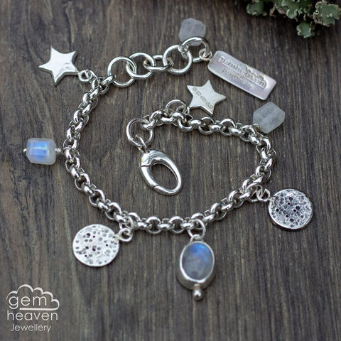 Echoes,~,To,the,Moon,charm bracelet, stars, moon charm, sterling silver, uk made, uk silversmith, boho style, handcrafted, design, art, jewellery, cornish jewellery, bohemian jewellery