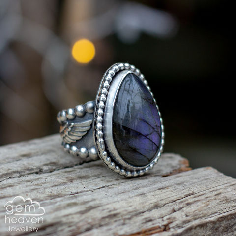 On,Winged,Dreams,Statement,ring,Statement ring, Purple Labradorite tapered ring band, sunsets, warrior, rustic silver, chunky ring, black ring , gemstone ring, boho style, bohemian jewellery, gypsy style, witch jewellery, witchy, cornish jewellery, cornish jeweller