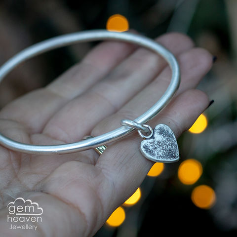A,Tattered,Heart,charm bangle , tattered heart, heart charm rustic silver, sterling silver, uk made, boho style, cornish jewellery, cornish jeweller, bohemian jewellery, gypsy style,