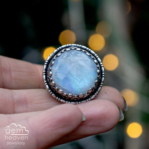 Bright,moon,Ring,Jewellery, Ring, Rainbow Moonstone ring, gemstone ring, moonstone, stone ring, rustic ring band, sterling silver ring, silver gemstone ring, uk made, bohemian style, rustic ring, purple gemstone, metalwork ring, gemheaven jewellery, wish