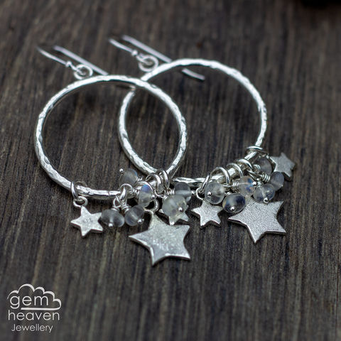Celestial,earrings, Moonstone earrings, stars, hoop earrings, sterling silver, star earrings silver dangle earrings, hammered hoops, Labradorite earrings, cornish jewellery, cornish jeweller, uk made, boho style, bohemian chic