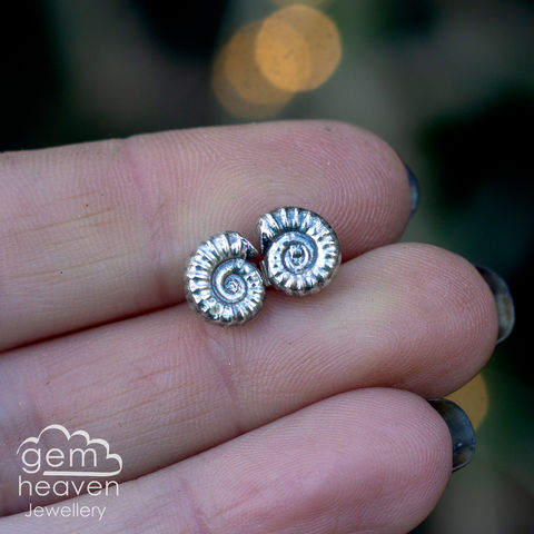 Ammonite,post,earrings,fossil earrings, ammonites, stud earrings, sterling silver, silver post earrings, cornish jewellery, cornish jeweller, uk made, boho style, bohemian chic,