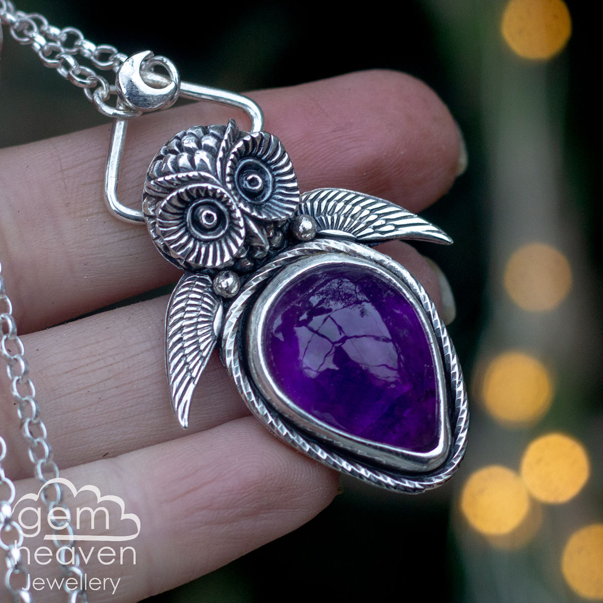 Seer - amethyst owl necklace  - product images  of
