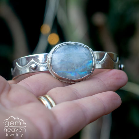 Moonlight,Cuff,Jewellery, Bracelet, Moonstone cuff, sterling silver, silver cuff, embossed cuff, bohemian style, gemstone cuff, rustic cuff, gemheaven jewellery, rainbow moonstone, silver and moonstone, cornish jewellery, textured band, hallmarked silver