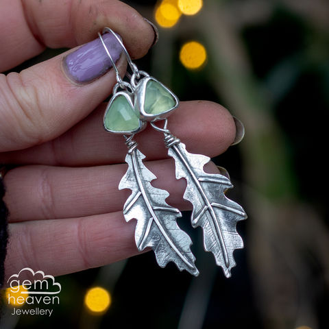 Dryad,Earrings,Leaf earrings, gemstone earrings , prehnite earrings, sterling silver, oakleaf earrings, silver dangle earrings, hammered hoops, Labradorite earrings, cornish jewellery, cornish jeweller, uk made, boho style, bohemian chic
