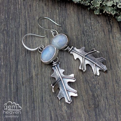 Dryad,Series,Earrings,Leaf earrings, gemstone earrings , Moonstone earrings, sterling silver, oakleaf earrings, silver dangle earrings, hammered hoops, Labradorite earrings, cornish jewellery, cornish jeweller, uk made, boho style, bohemian chic