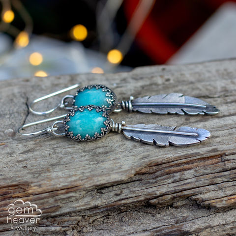 Morrigan,Series,Earrings,Feather earrings, gemstone earrings , amazonite earrings, sterling silver,feathers, silver dangle earrings, hammered hoops, Labradorite earrings, cornish jewellery, cornish jeweller, uk made, boho style, bohemian chic