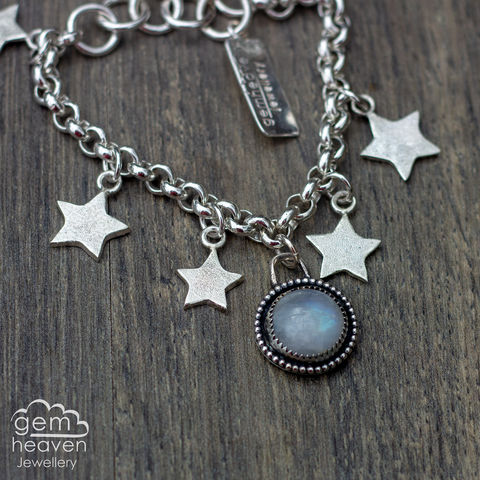 Echoes,~,charm,bracelet,with,Moonstone,charm bracelet, Moonstone,  star,  star charm, sterling silver, uk made, uk silversmith, boho style, handcrafted, design, art, jewellery, cornish jewellery, bohemian jewellery