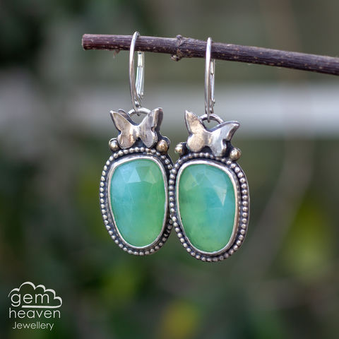 Rebirth,Earrings,Chrysoprase earrings, rebirth earrings, dangle earrings, green, butterflies, sterling silver, silver and moonstone, rainbow moonstone, blue flash, cornish jeweller, cornish jewellery, uk made, bohemian style, boho chic, moon jewellery,