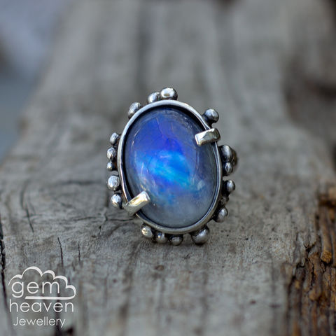 Moon,Pebbles,Ring,Jewellery, Ring, Rainbow Moonstone ring, gemstone ring, moonstone, stone ring, rustic ring band, sterling silver ring, silver gemstone ring, uk made, bohemian style, rustic ring, purple gemstone, metalwork ring, gemheaven jewellery, wish