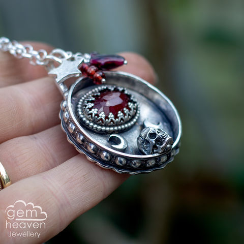 Gothic,red,Amulet,Amulet ,Necklace, Garnet, red gemstone, rustic silver, sterling silver, uk made, boho style, cornish jewellery, cornish jeweller, bohemian jewellery, gypsy style,