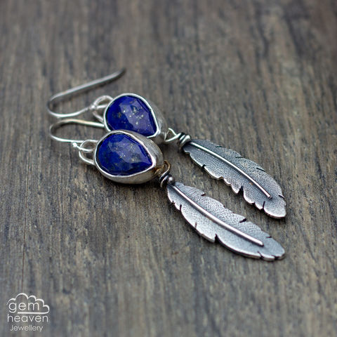 RESERVED,for,S,Morrigan,Series,Earrings,Feather earrings, gemstone earrings , Lapis lazuli earrings, sterling silver,feathers, silver dangle earrings, hammered hoops, Labradorite earrings, cornish jewellery, cornish jeweller, uk made, boho style, bohemian chic
