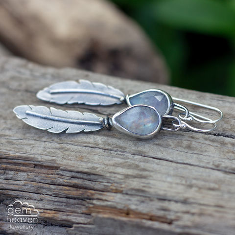 Morrigan,Series,Earrings,Feather earrings, gemstone earrings , Rainbow Moonstone earrings, sterling silver,feathers, silver dangle earrings, hammered hoops, Labradorite earrings, cornish jewellery, cornish jeweller, uk made, boho style, bohemian chic