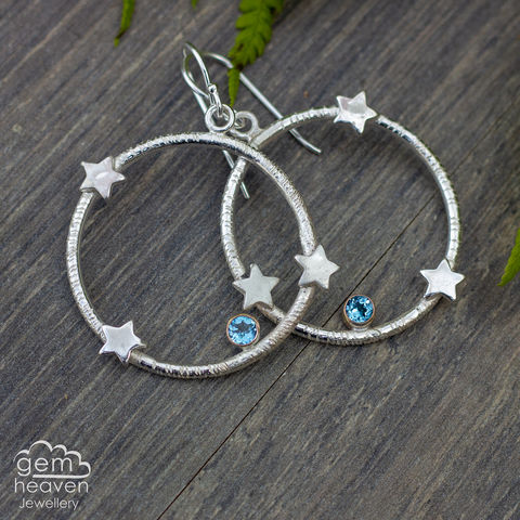 Fall,among,the,Stars,earrings,Blue topaz earrings, stars, hoop earrings, sterling silver, star earrings silver dangle earrings, hammered hoops, Labradorite earrings, cornish jewellery, cornish jeweller, uk made, boho style, bohemian chic