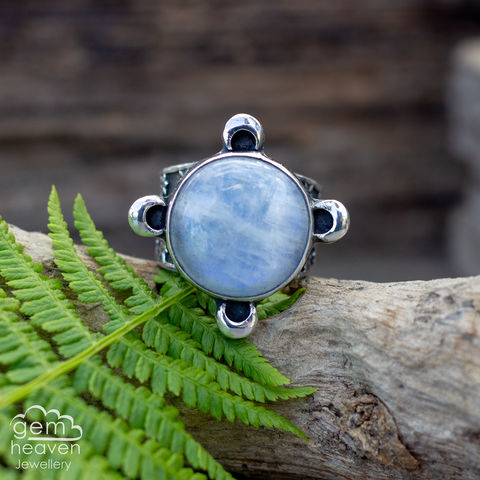 Guide,Me,by,The,Moon,Statement,ring,Statement ring, Rainbow Moonstone, tapered ring band, angel wings , warrior, rustic silver, chunky ring, black ring , gemstone ring, boho style, bohemian jewellery, gypsy style, witch jewellery, witchy, cornish jewellery, cornish jeweller
